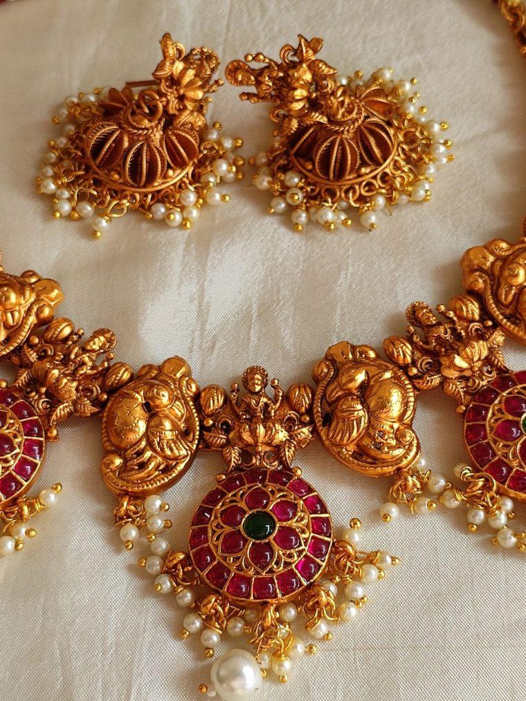 Unique Kemp Stone Lakshmi Necklace