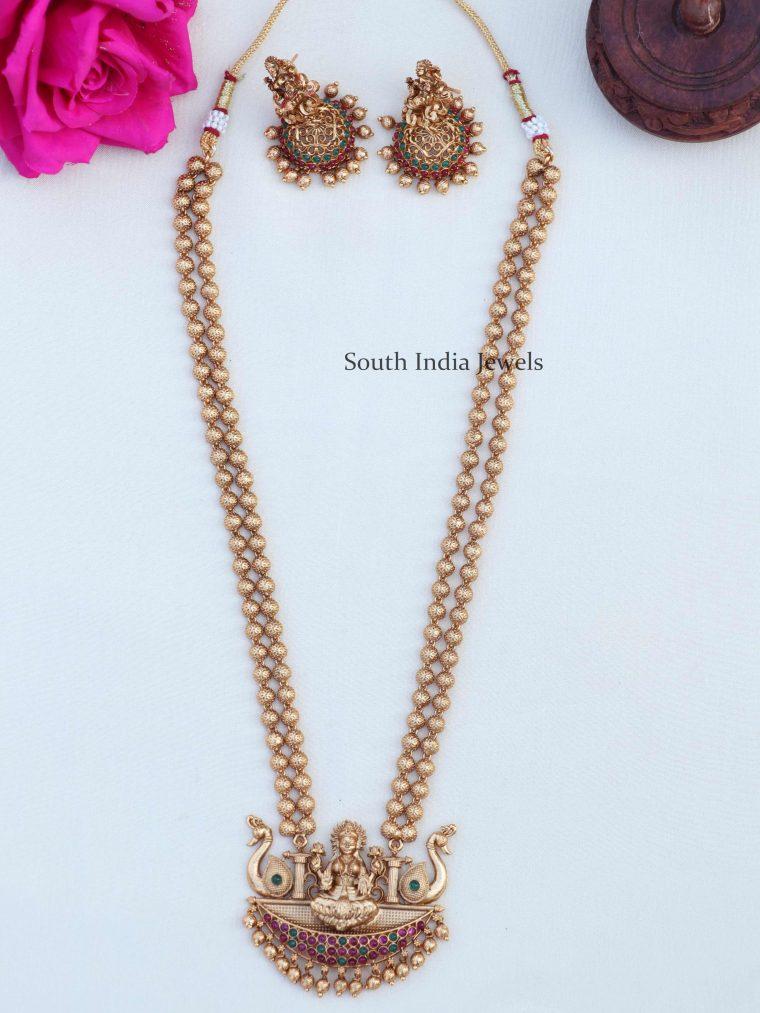 Unique Lakshmi Pendant Golden Beads Haram