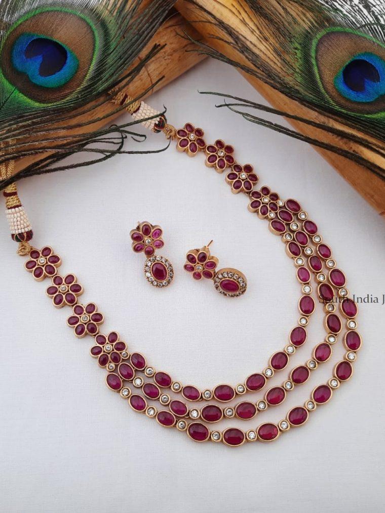 Unique Three Layer Kemp Stone Necklace