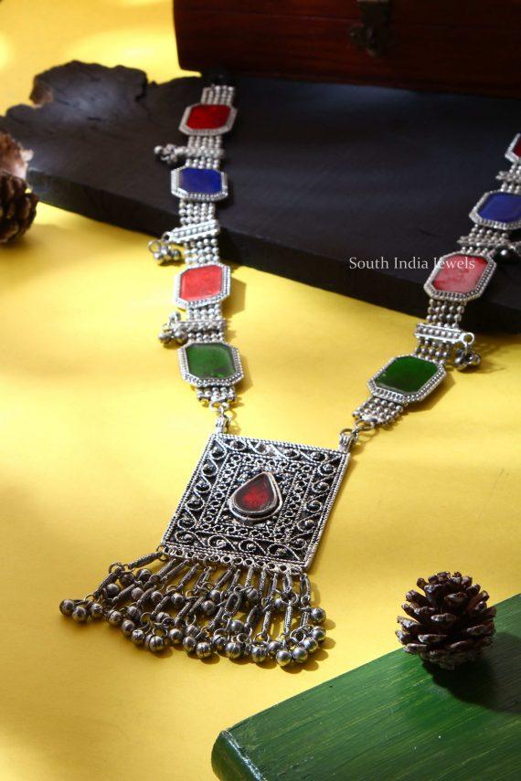 Afghani Tribal Coloured Silver Haram (3)