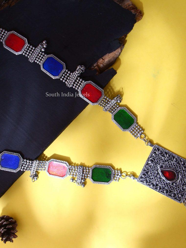 Afghani Tribal Coloured Silver Haram