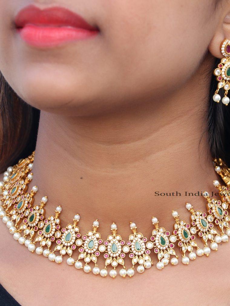 Amazing Multi Stone Pearl Drop Necklace