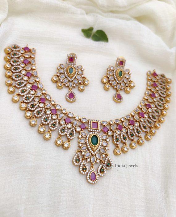 Beautiful AD Multi Stone Necklace (2)
