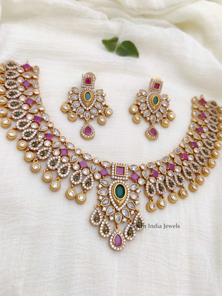 Beautiful AD Multi Stone Necklace (2)
