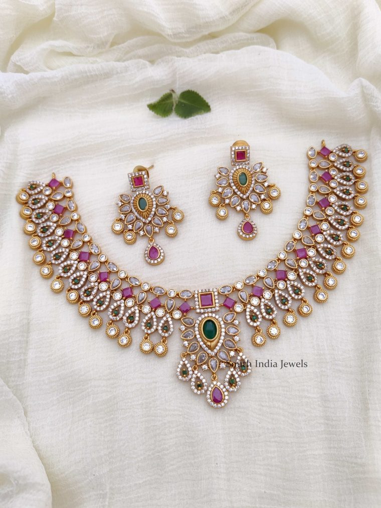 Beautiful AD Multi Stone Necklace