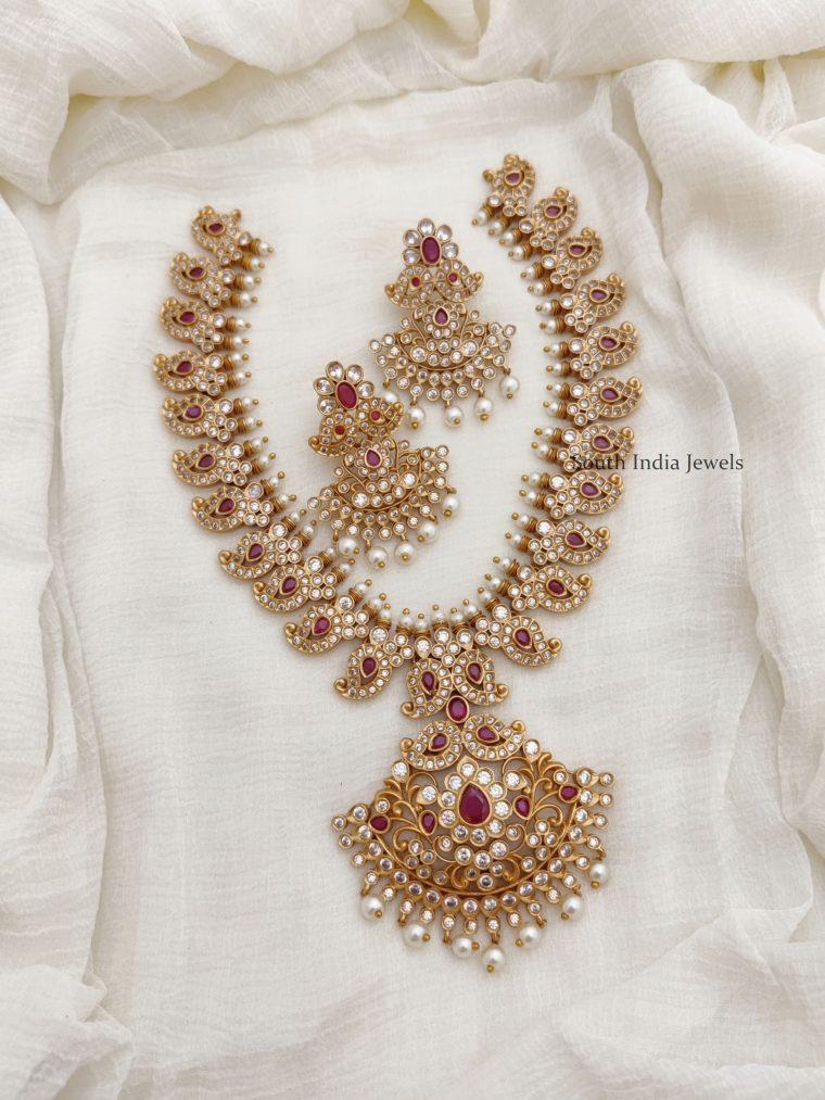 Beautiful AD Stone Mango Design Necklace