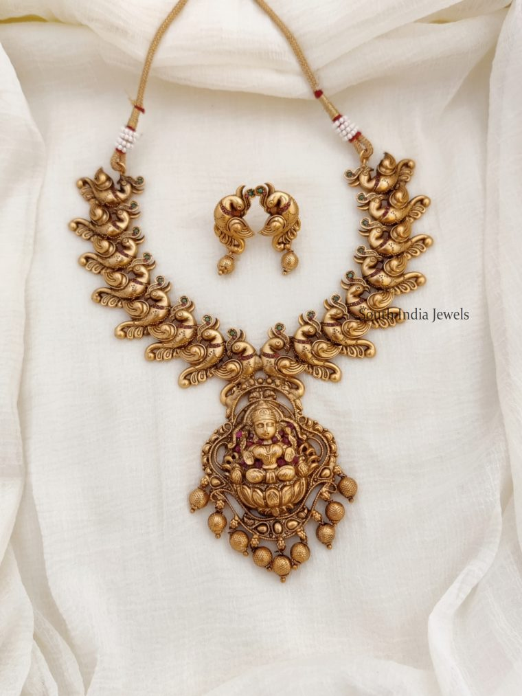 Beautiful Antique Peacock & Lakshmi Necklace
