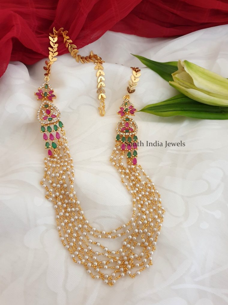 Beautiful CZ Multi Layer Pearls Chain Necklace