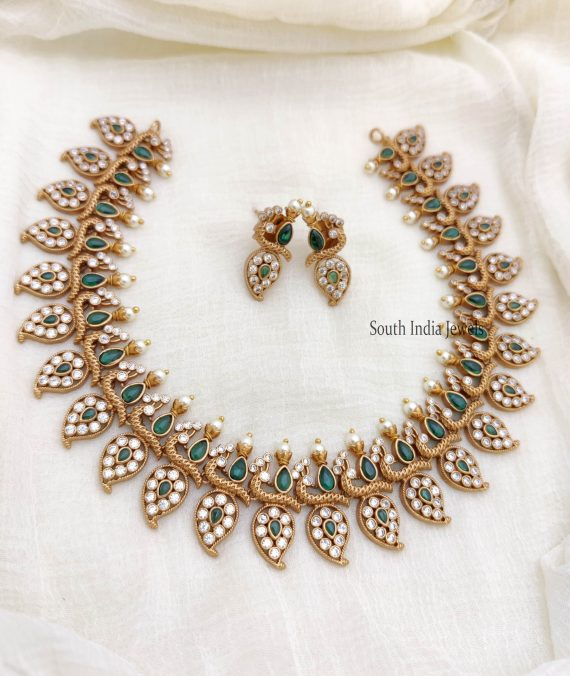 Beautiful Full Green Peacock AD Necklace