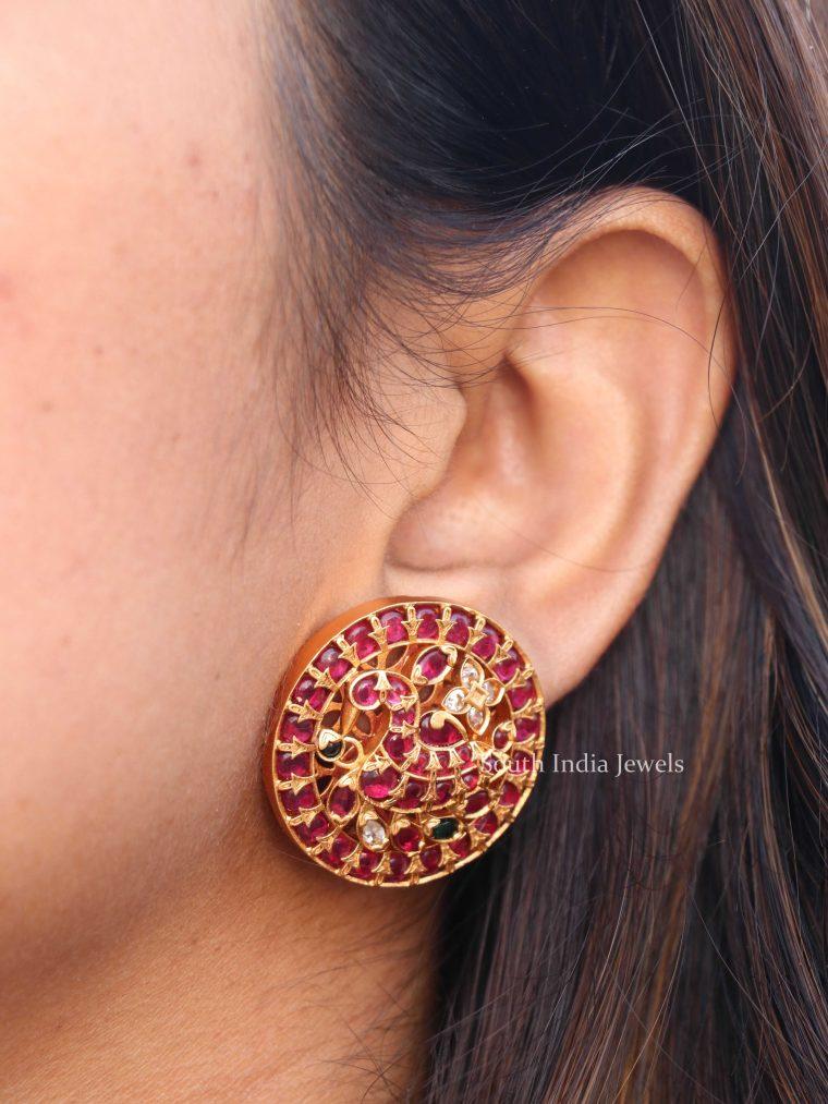 Beautiful Kemp Peacock Ear Studs
