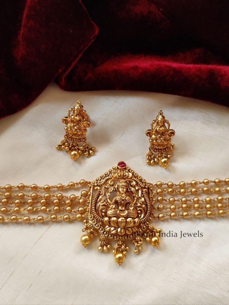 Beautiful Lakshmi Gold Beads Choker