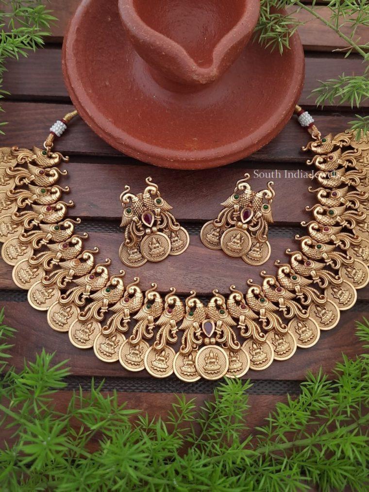 Beautiful Peacock & Lakshmi Coin Necklace