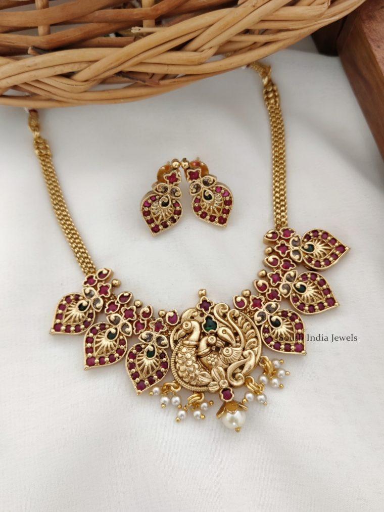 Beautiful Peacock & Mango Design Necklace (2)