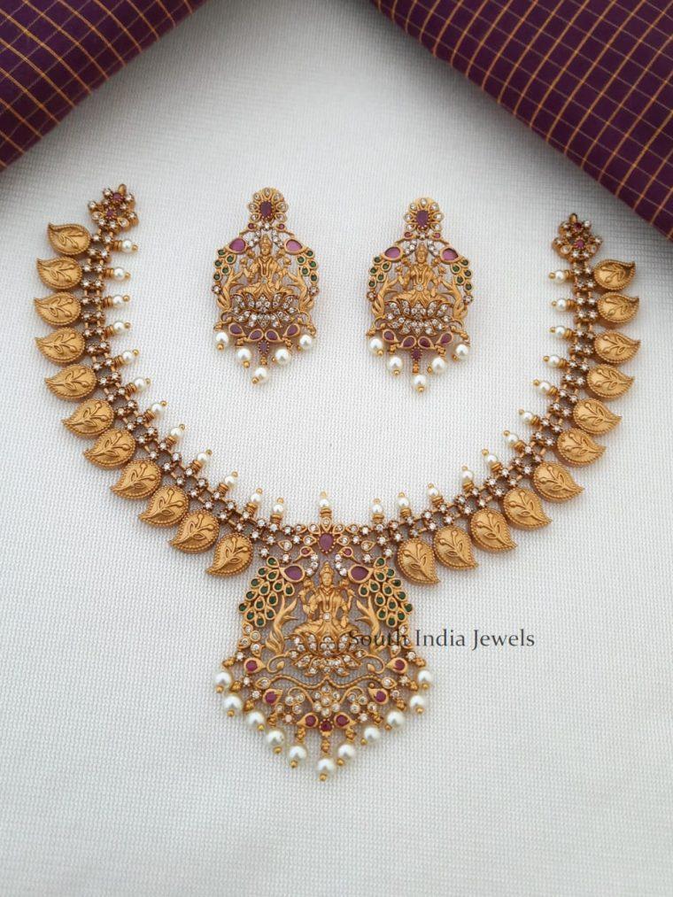 Bridal Lakshmi Pendant Mango Design Necklace