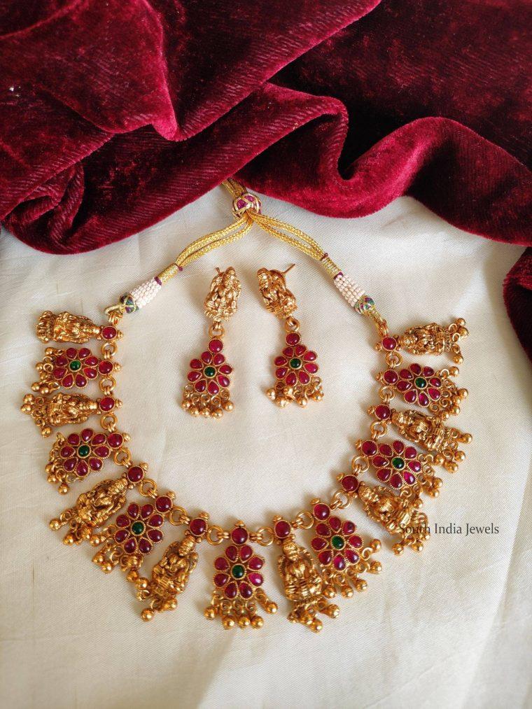 Elegant Kemp Stone Lakshmi Necklace