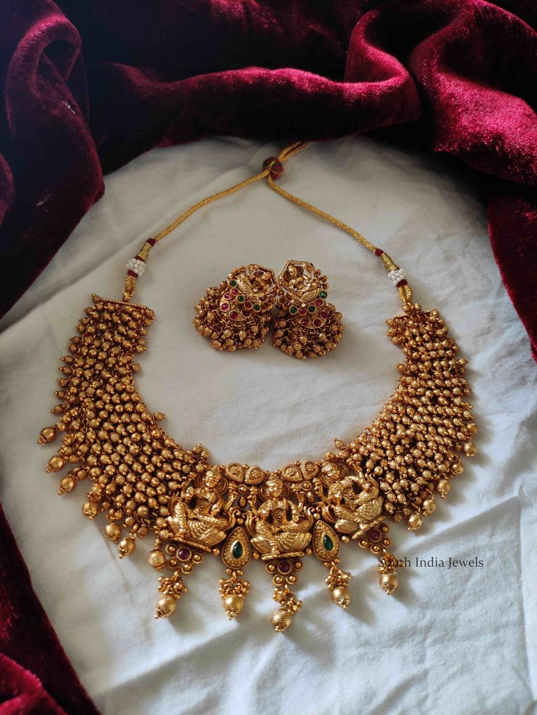 Elegant Lakshmi Gold Beads Necklace