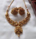 Elegant Lakshmi & Peacock Design Necklace