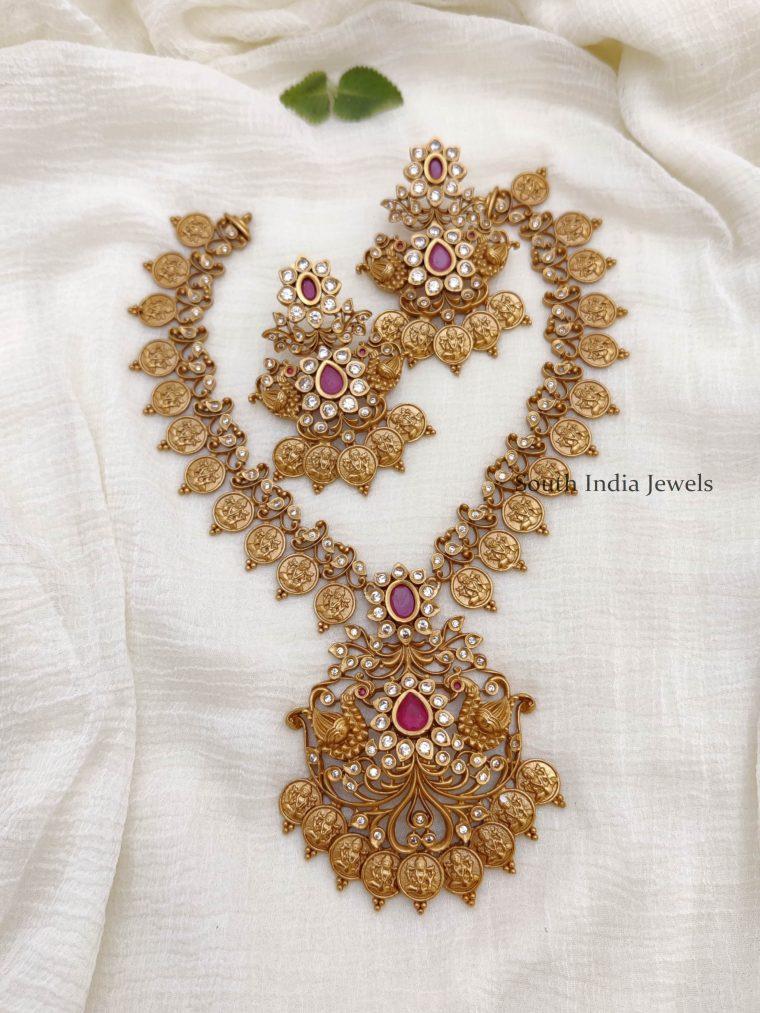Elegant Lakshmi & Peacock Necklace
