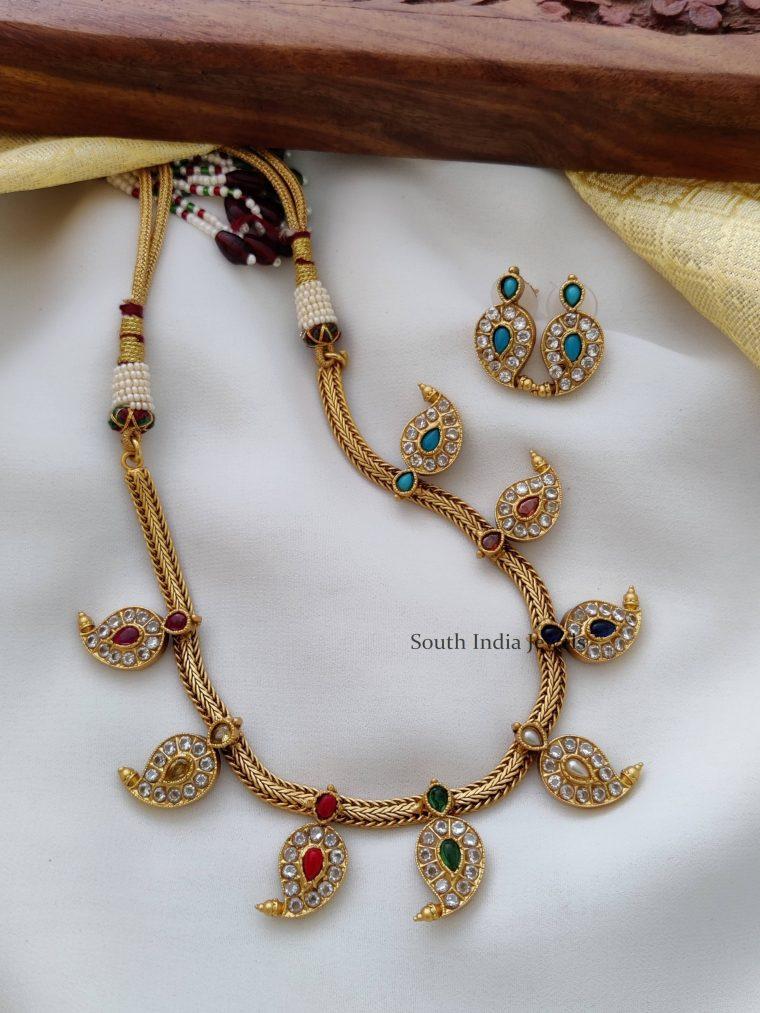 Elegant Mango Design Navarathna Necklace