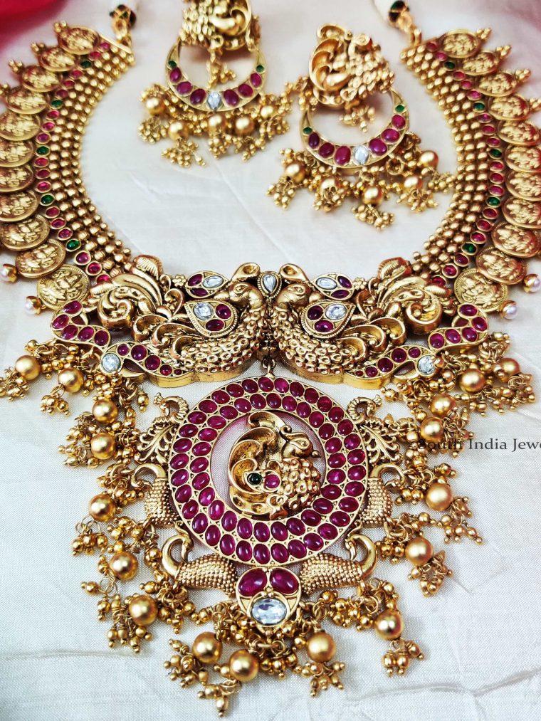 Elegant Peacock Design Lakshmi Coin Necklace