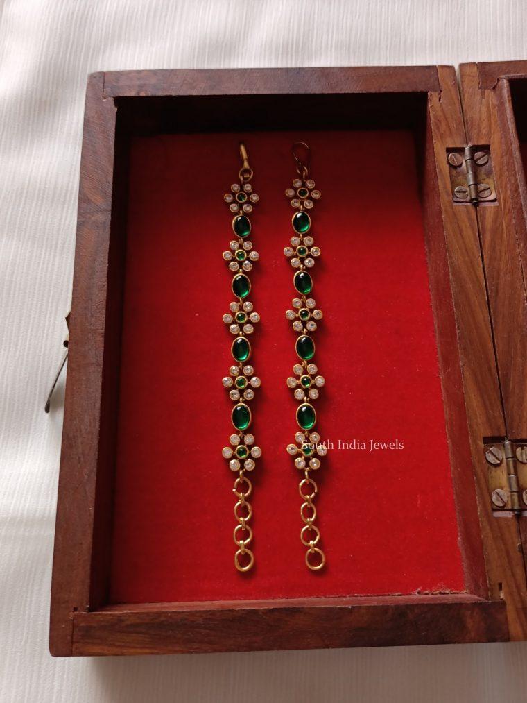 Flower Design Emerald Earchain Set