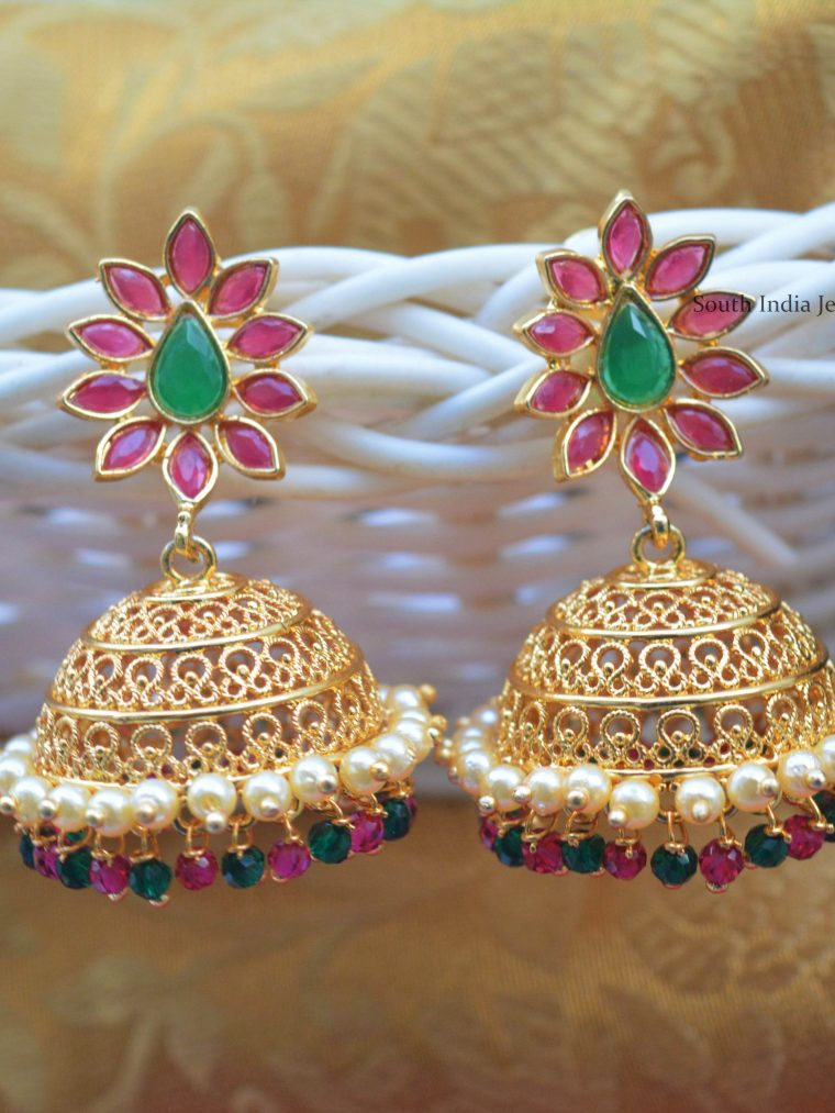 Flower Design Gold Polish Jhumkas