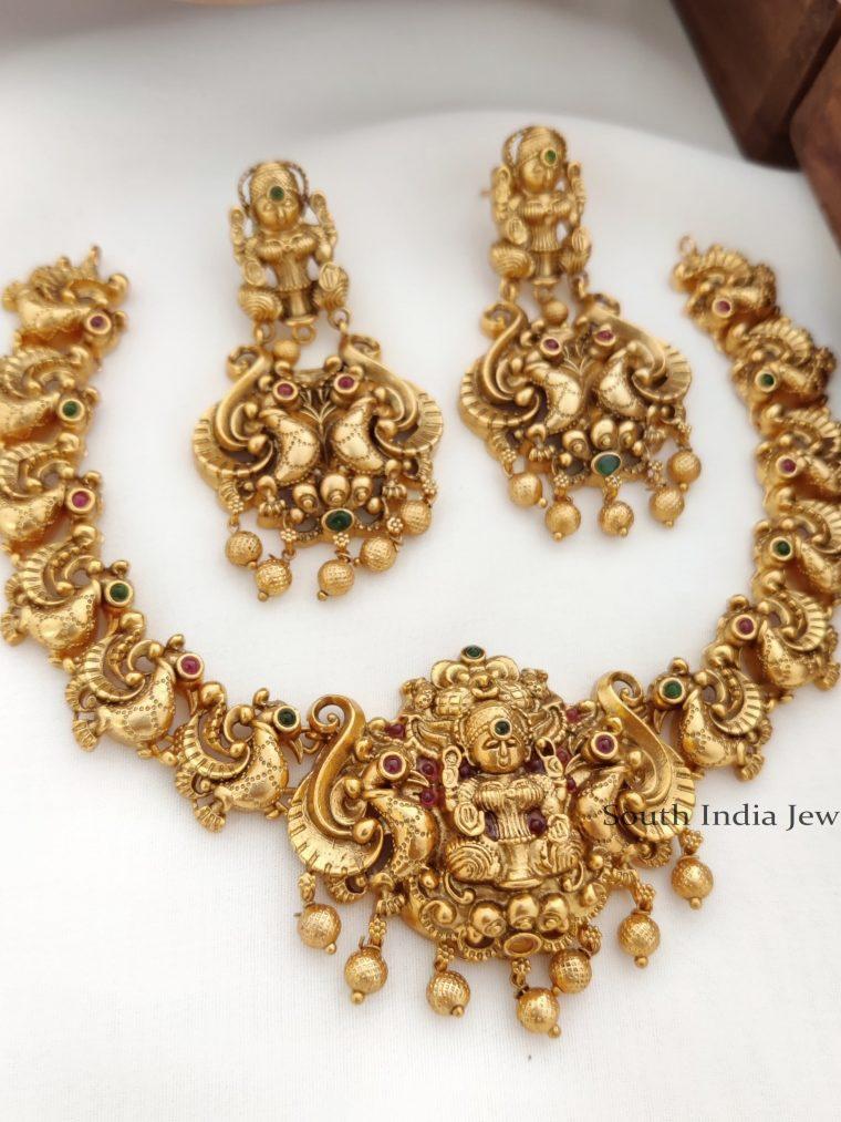 Gold Peacock Design lakshmi Necklace - 01