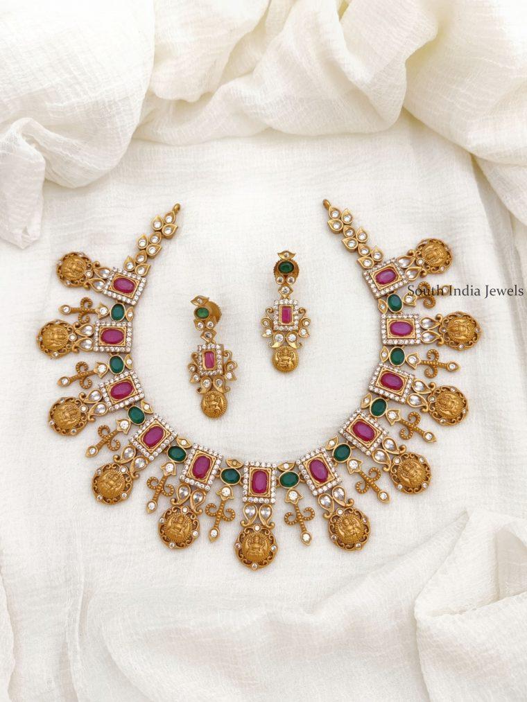 Gorgeous AD Stone Lakshmi Necklace