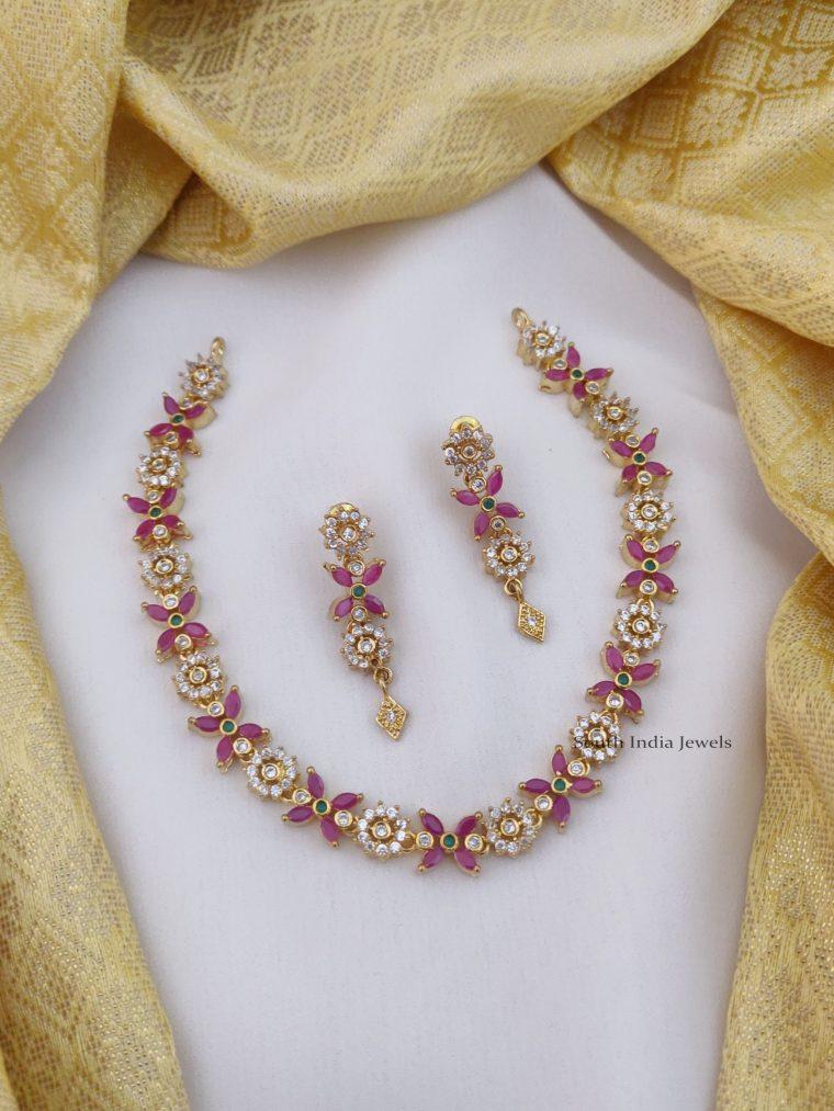Gorgeous Flower Design AD Necklace (2)