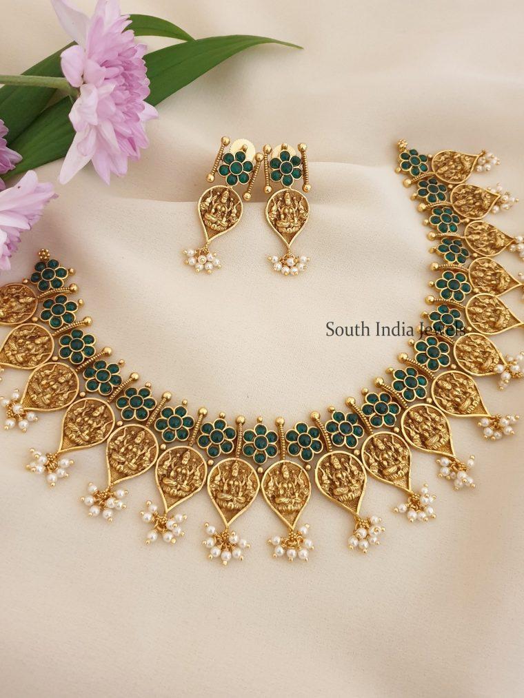 Gorgeous Lakshmi Coin Green Stone Necklace