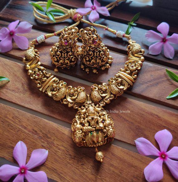 Lakshmi Peacock Nagas Kemp Necklace (2)