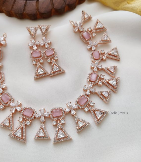 Party Wear Rose Gold Necklace (2)