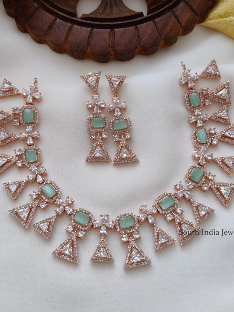 Party Wear Rose Gold Necklace (3)