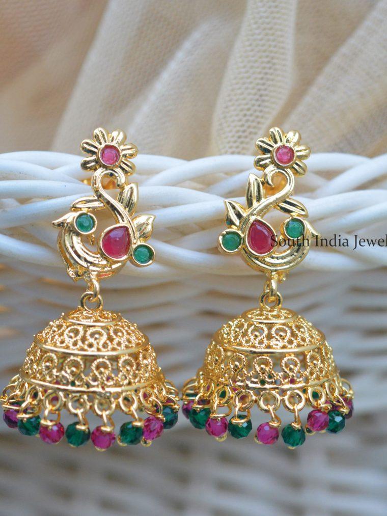 Peacock Design Gold Polish Jhumkas