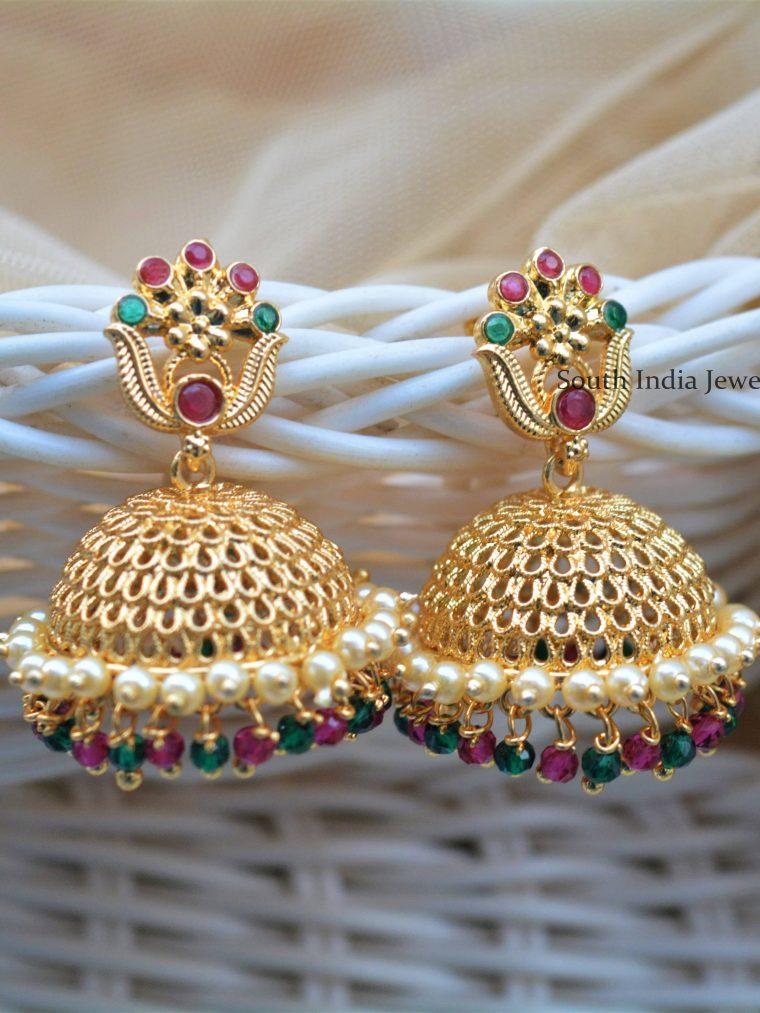 Pretty Gold Polish Jhumkas