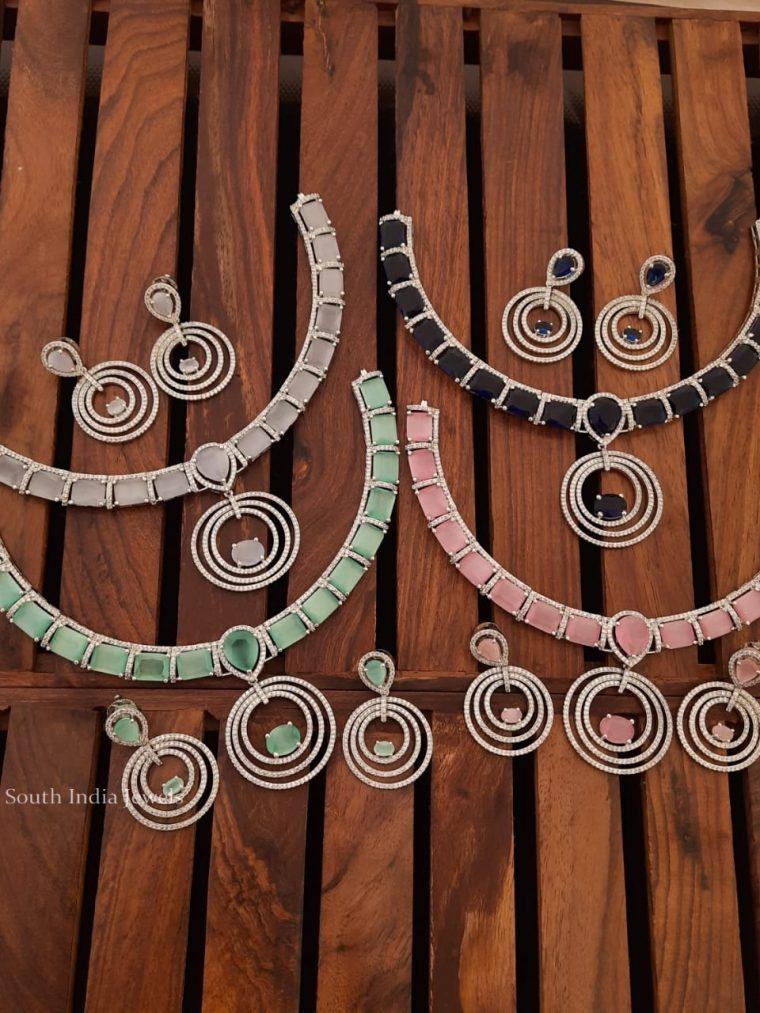 Pretty Platinum Finish CZ Stone Necklace
