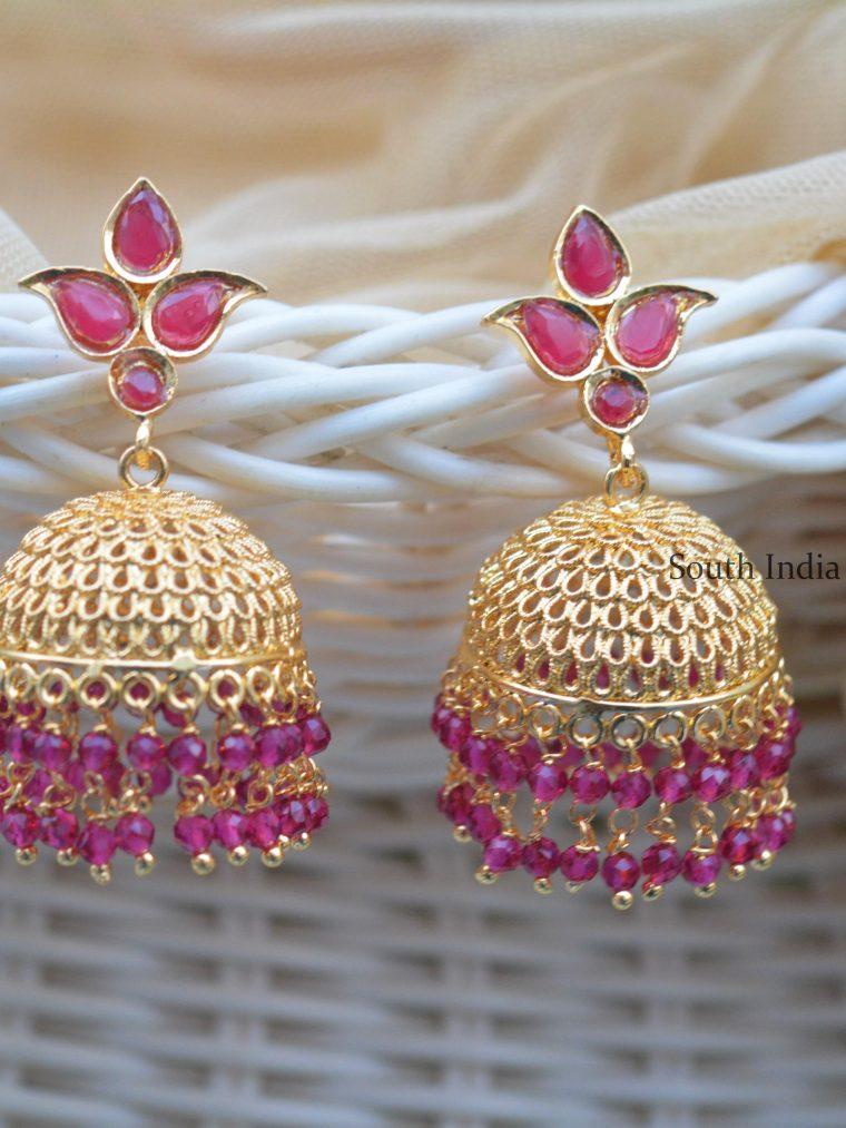 Pretty Ruby Beads Jhumkas