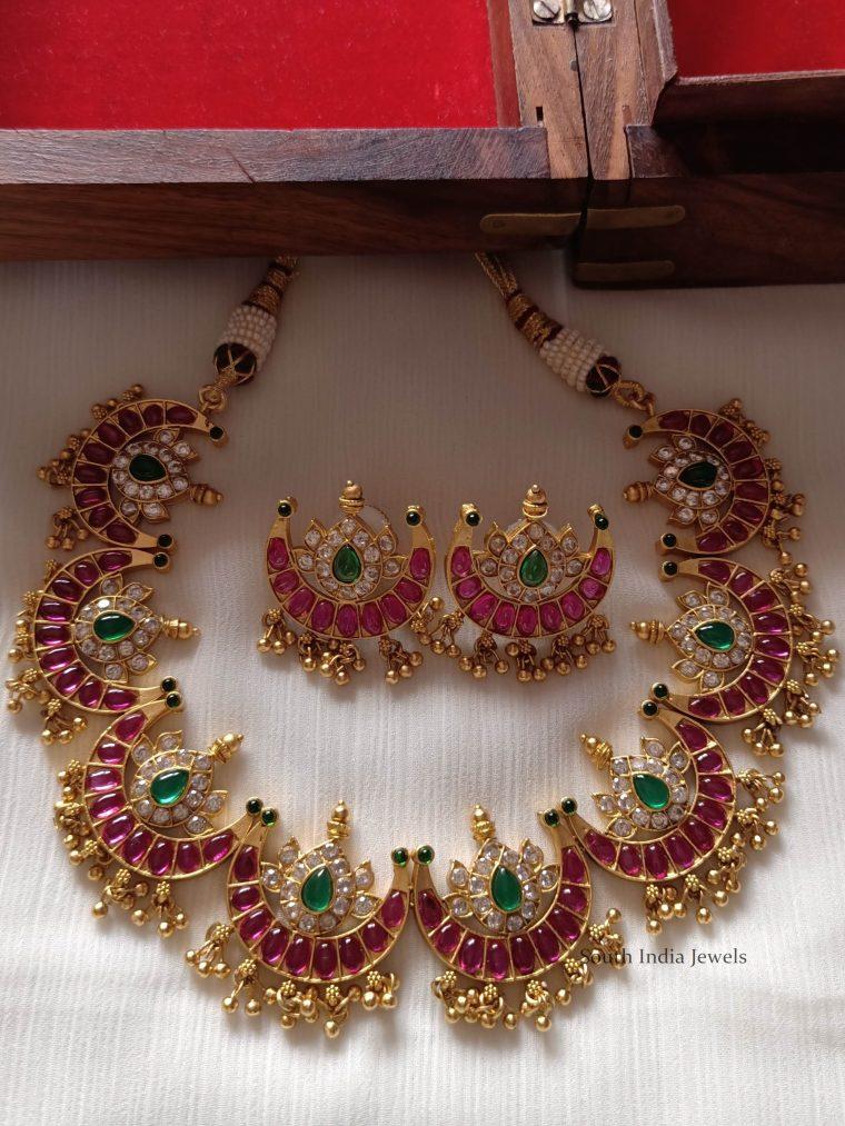 Ruby & Emerald Half Moon Necklace