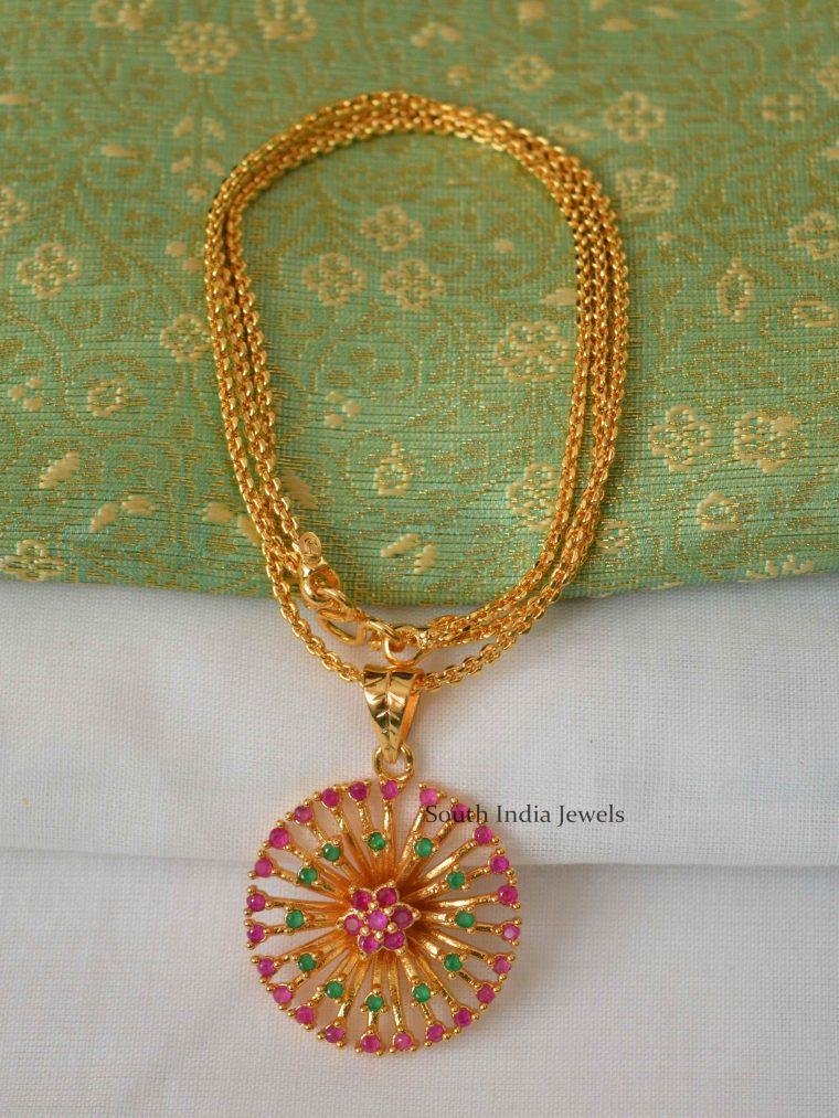 Simple Flower Design Pendant Chain