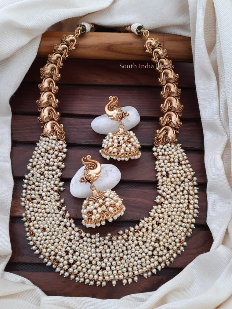 Stunning Matte Finish Pearl Cluster Necklace