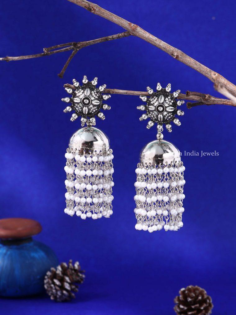 Stunning Sunflower Pearl Oxidised Silver Jhumkas