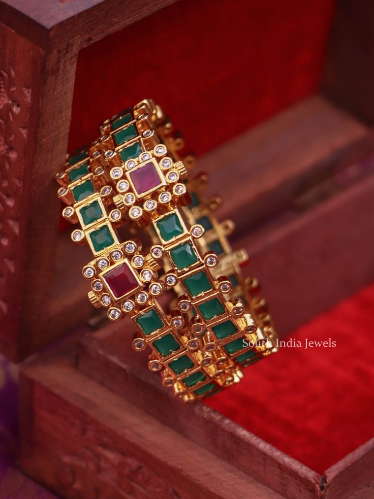 Traditional Green Stone Openable Bangles