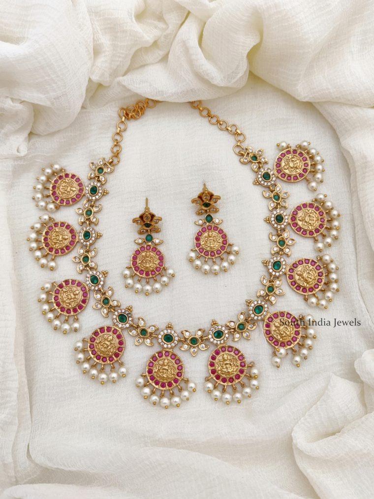 Traditional Lakshmi Design Guttapusalu Necklace