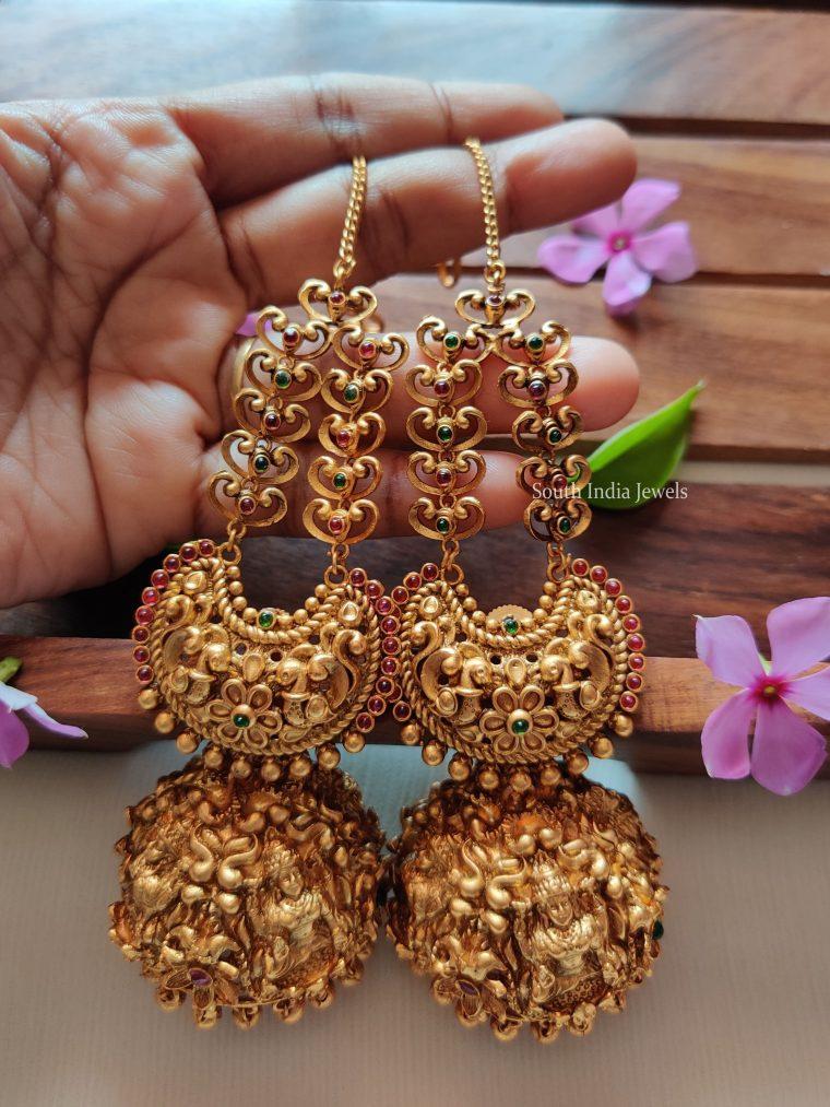 Traditional Lakshmi Design Jhumkas With Mattal