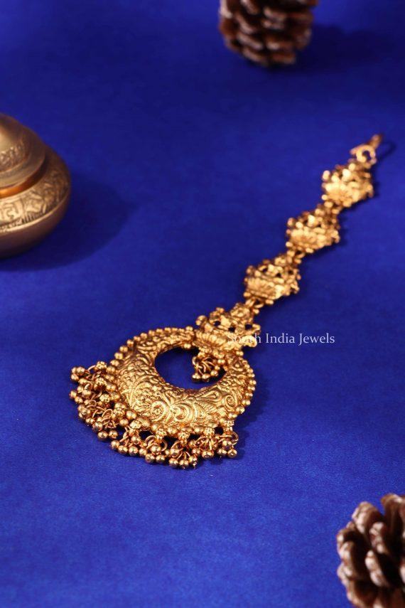 Traditional Lakshmi Gold Beads Maang Tikka (3)