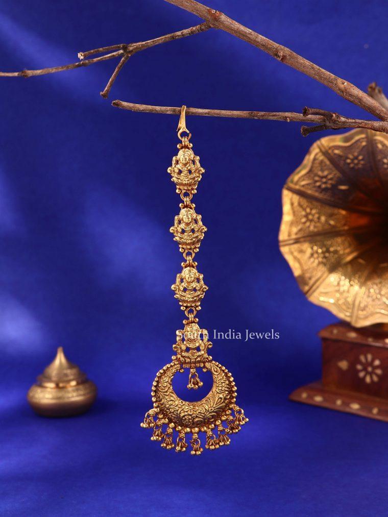 Traditional Lakshmi Gold Beads Maang Tikka