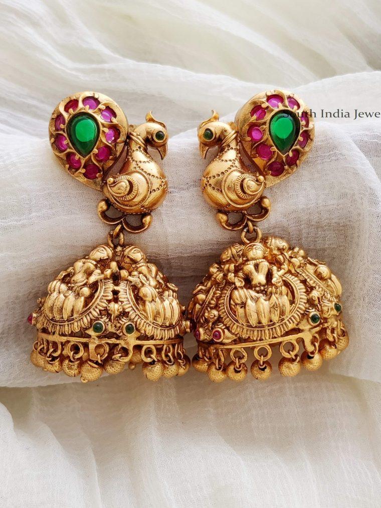 Traditional Lakshmi Peacock Jhumkas