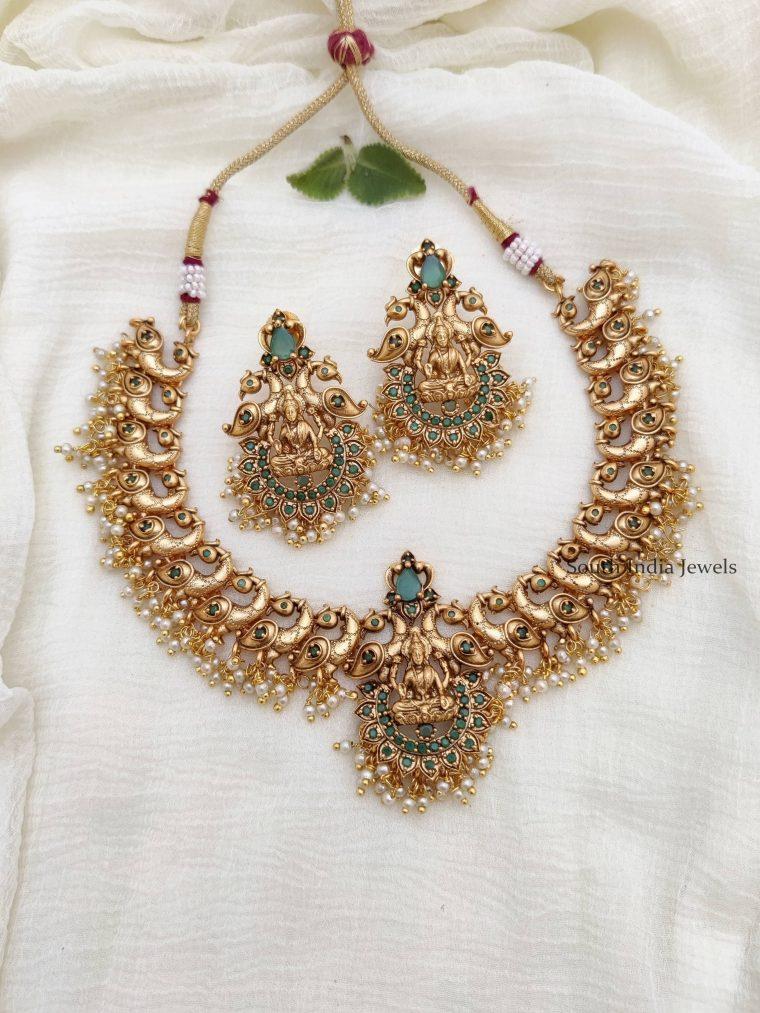 Traditional Lakshmi & Peacock Necklace