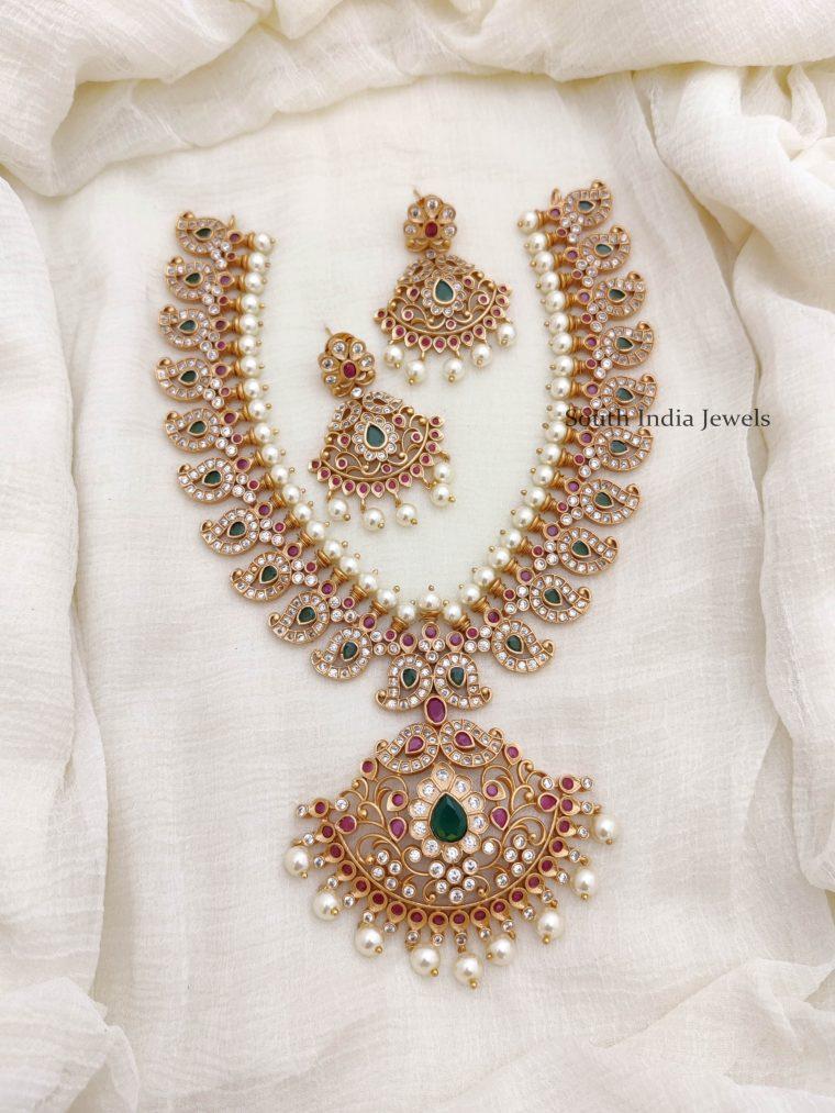 Traditional Mango & Peacock Design Necklace