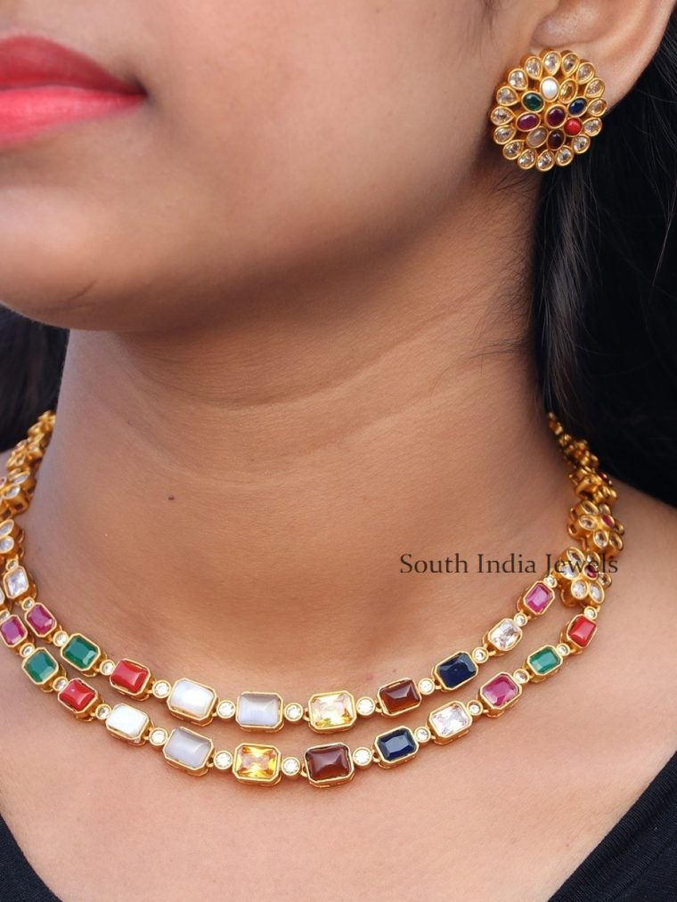 Traditional Navarathna Double Layer Necklace
